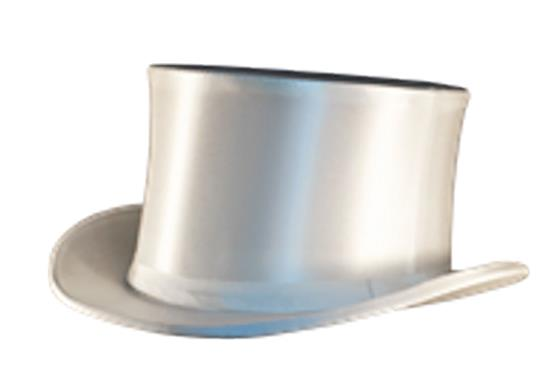 618 White Satin Collapsible Top Hat 618W
